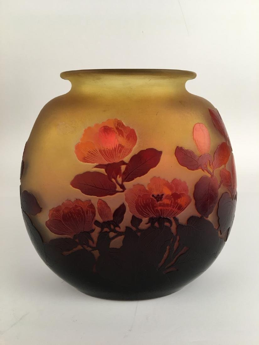 Galle cameo vase with a oval shape and wide oval mouth.