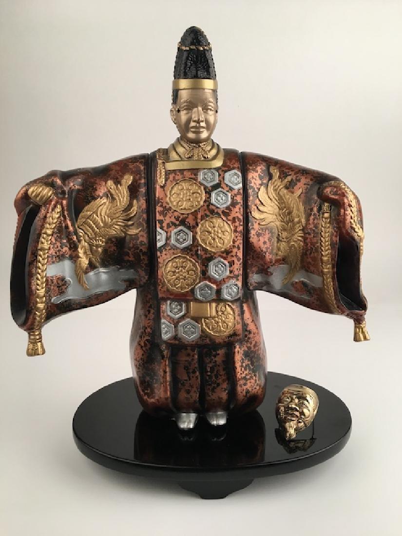 Modern painted metal Japanese man wearing a large