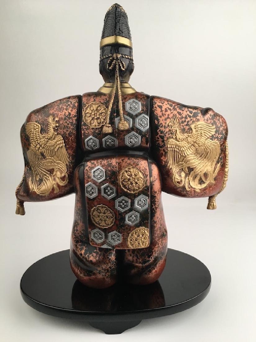 Modern painted metal Japanese man wearing a large - 3