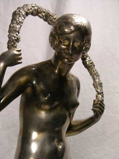 """3820: BRONZE SCULPTURE.""""GIRL WITH GARLAND """"  SILVER OVE"""