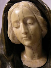 """3857: IVORY AND BRONZE FIGURE OF """"AVE MARIA'' SIGNED  """""""