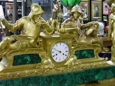 3937: FRENCH EMPIRE GILT BRONZE MATCHED CLOCK GARNITURE