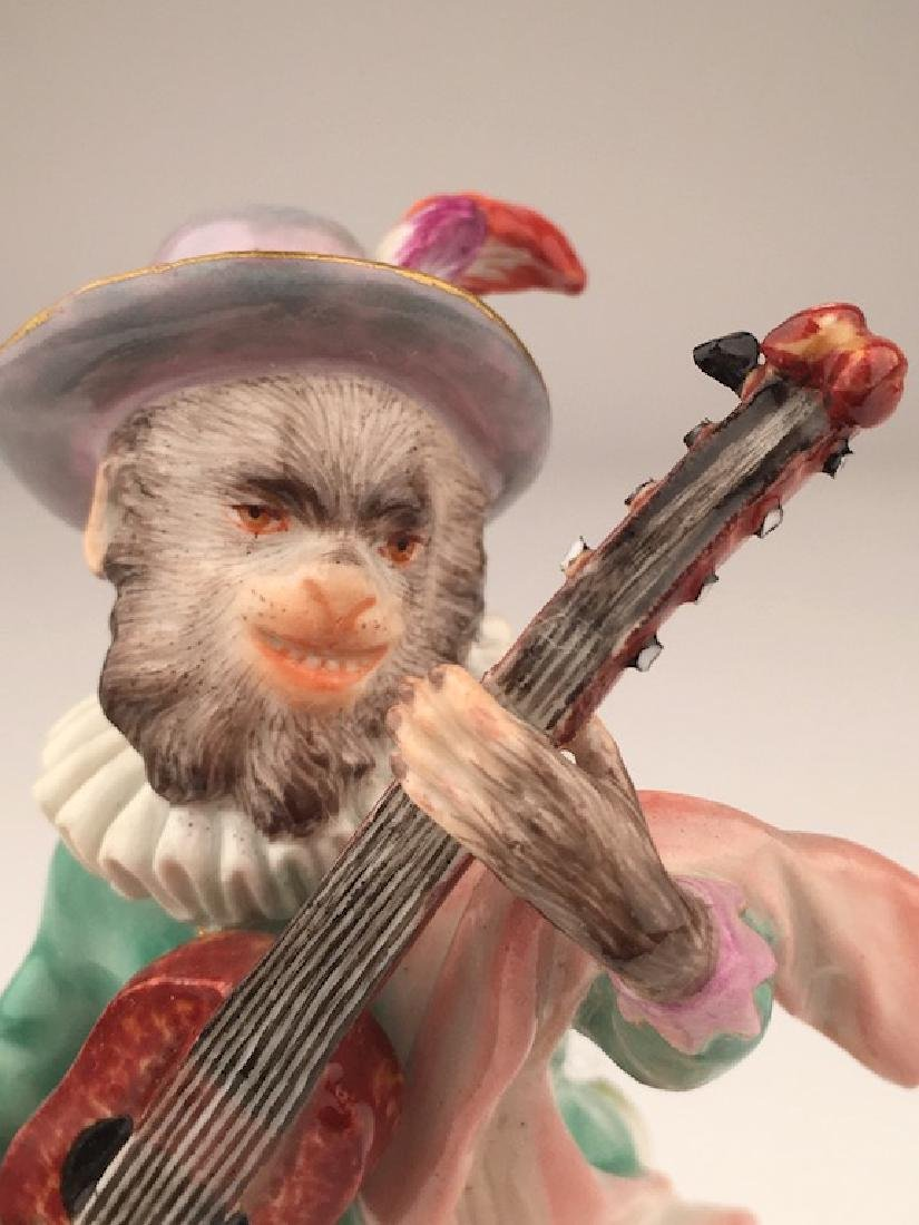 Meissen porcelain monkey  band member playing a guitar. - 2