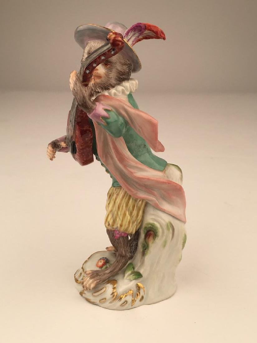 Meissen porcelain monkey  band member playing a guitar. - 3