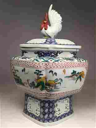 Attributed to Au Kutani 3 piece Japanese vase the top