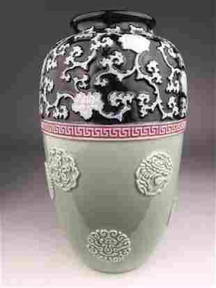 Circa 1900 Japanese studio porcelain vase with flowers