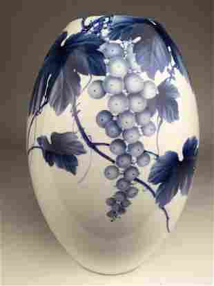 20 th century Japanese studio vase with leaves and