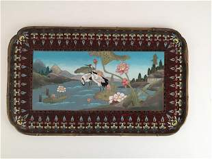 Circa 1880 silver wire Japanese cloisonne tray with a