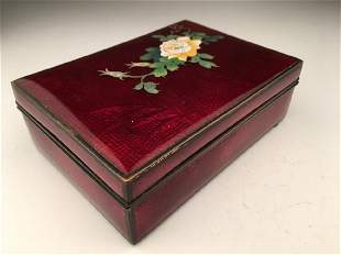 Japanese cloisonne enamel box blood red with flower 5
