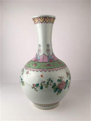 A Chinese porcelain vase decorated with flowers and
