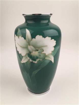 Japanese jade green cloissonne vase with chrome top and