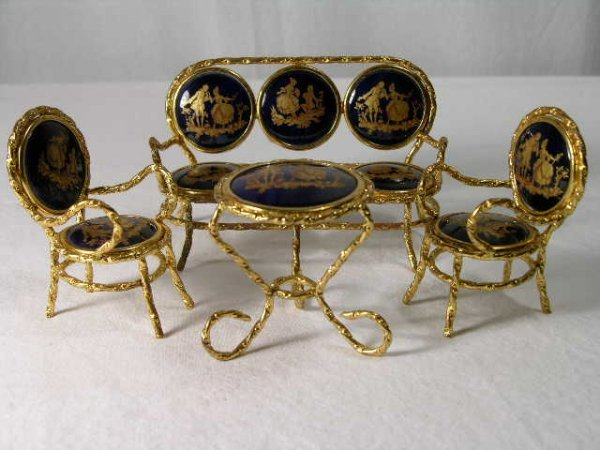 4085: LIMOGES (FRENCH) MINIATURE FURNITURE GROUPING.A S