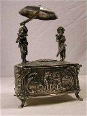 4138: MECHANICAL STERLING SILVER SINGING BIRD BOX.DECOR