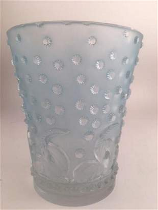 "Lalique ""Ajaccio"" vase with a light blue patina."