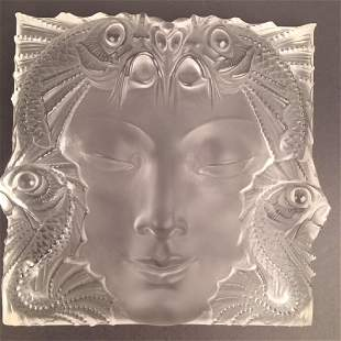 Maske De Femme, Lalique frosted crystal panel with its