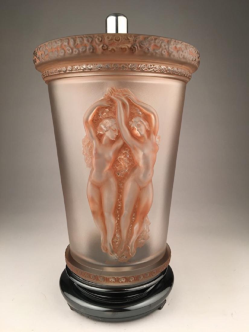 """Marc Lalique 1950 """"Two Danseuses"""" lamp with original"""