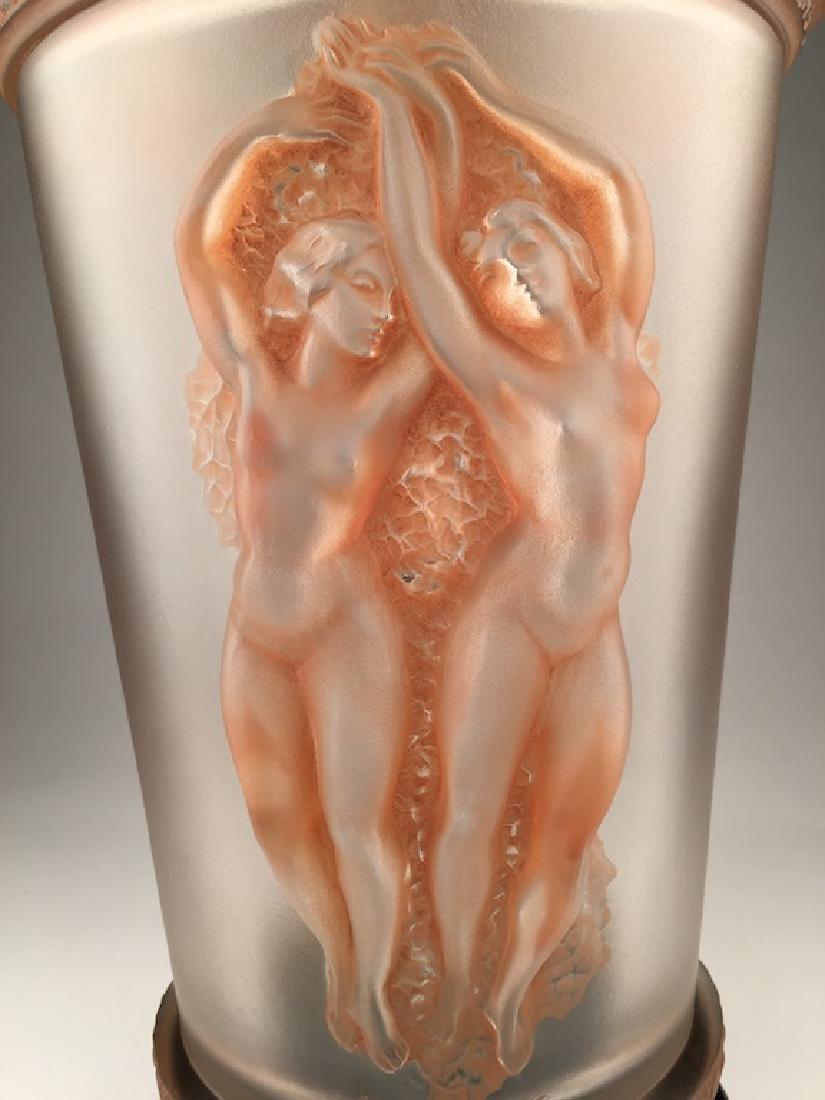 """Marc Lalique 1950 """"Two Danseuses"""" lamp with original - 2"""