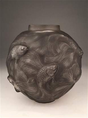 """R. Lalique """"Formose"""" vase in clear glass with a grey"""