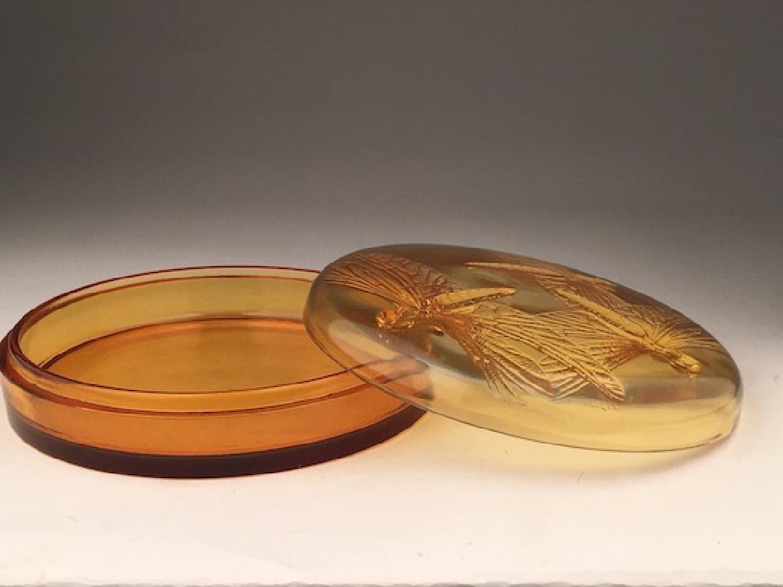 "R. Lalique ""Libellules"" powder box in an golden amber - 2"
