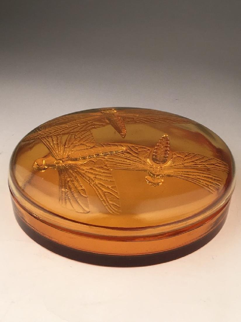 "R. Lalique ""Libellules"" powder box in an golden amber - 3"