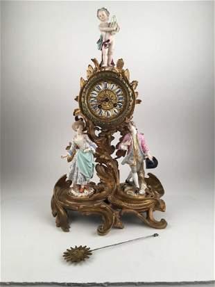 18th Century Meissen porcelain and bronze figural clock