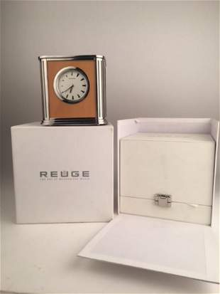Reuge Swiss singing bird alarm clock in pear wood with