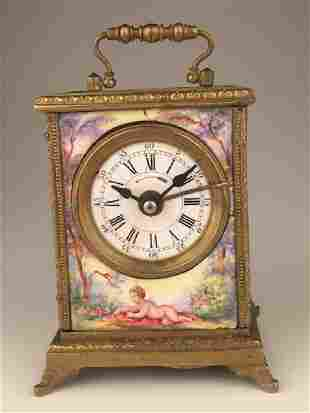 Vienna enamel painted bronze clock