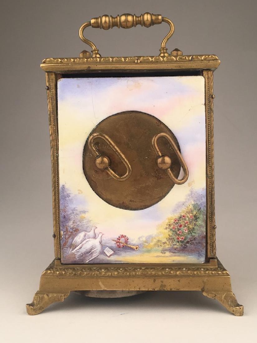 Vienna enamel painted bronze clock. - 4