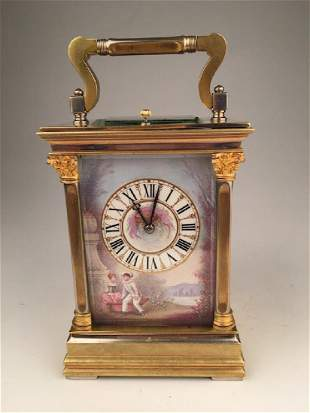 Antique mantle clock with painted plaques