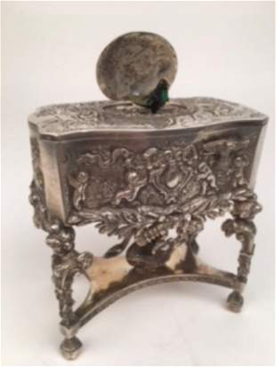 925 silver mechanical singing bird box with a large