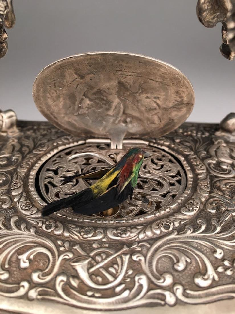 Mechanical sterling silver singing bird box automaton. - 6