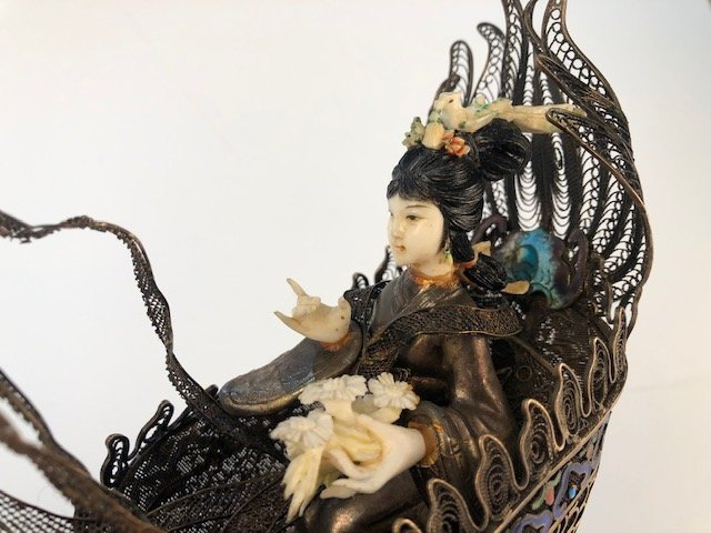Chinese figure of a woman in a silver boat. - 2