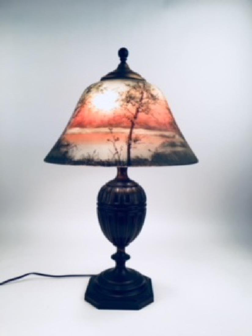 Pairpoint Table Lamp, Countryside scene on an