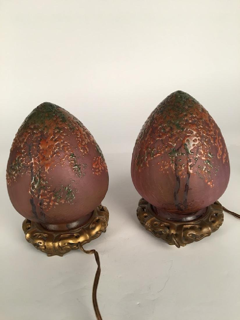 Pair of Handle egg shapped lamps.