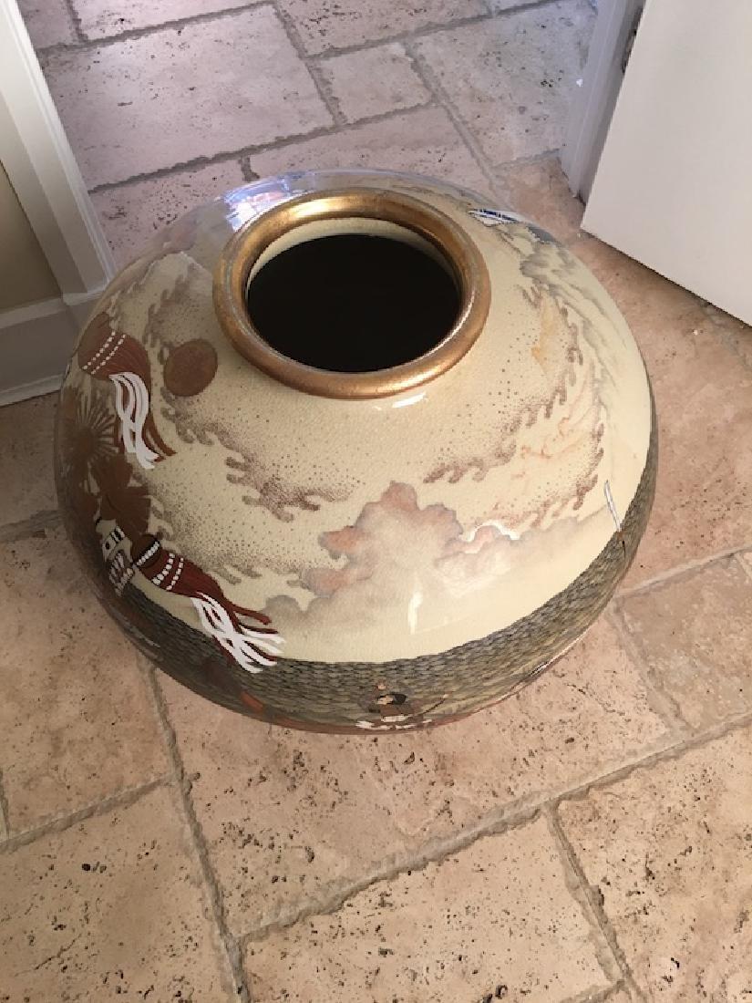 Monumental Satsuma late 20 th century vase. Marked on