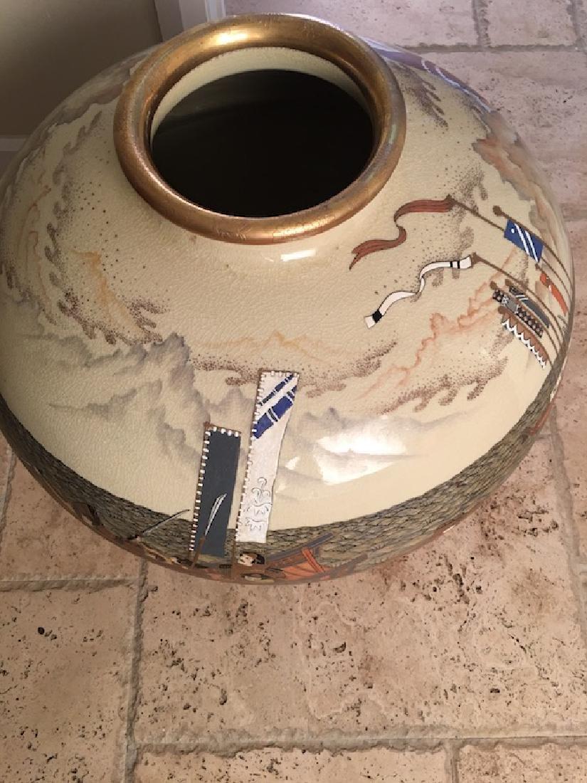 Monumental Satsuma late 20 th century vase. Marked on - 2