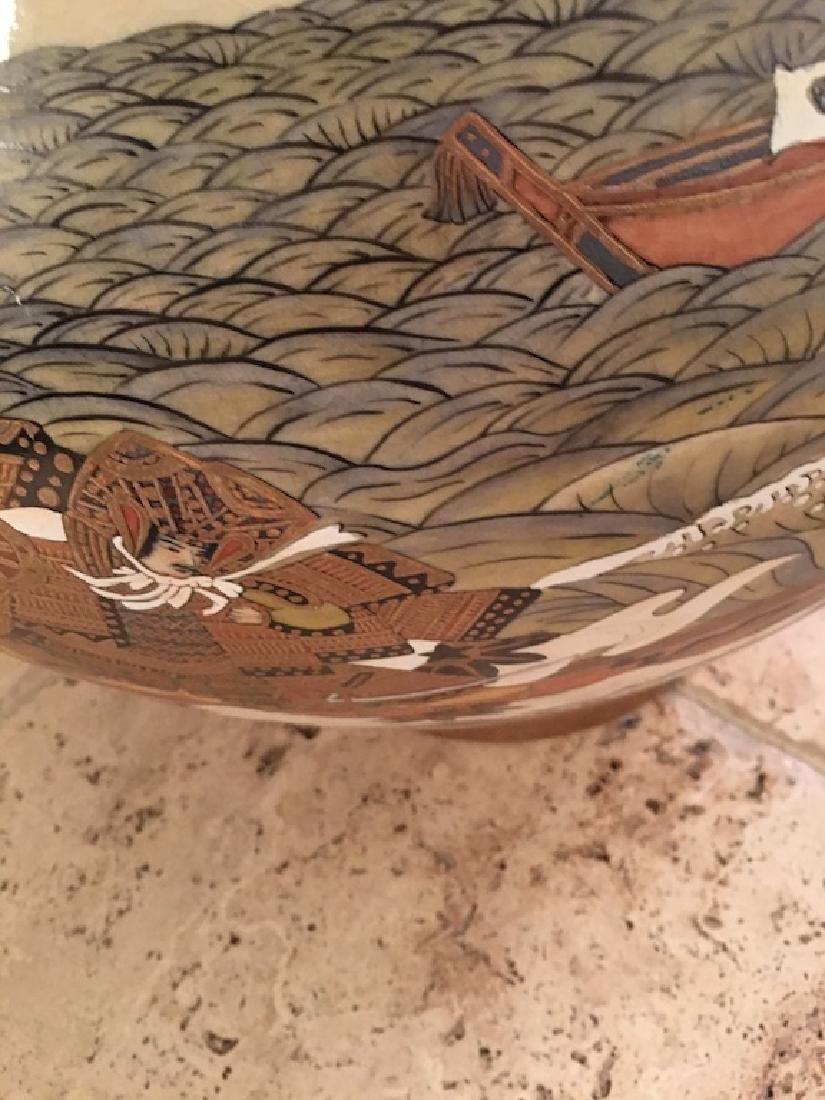 Monumental Satsuma late 20 th century vase. Marked on - 3