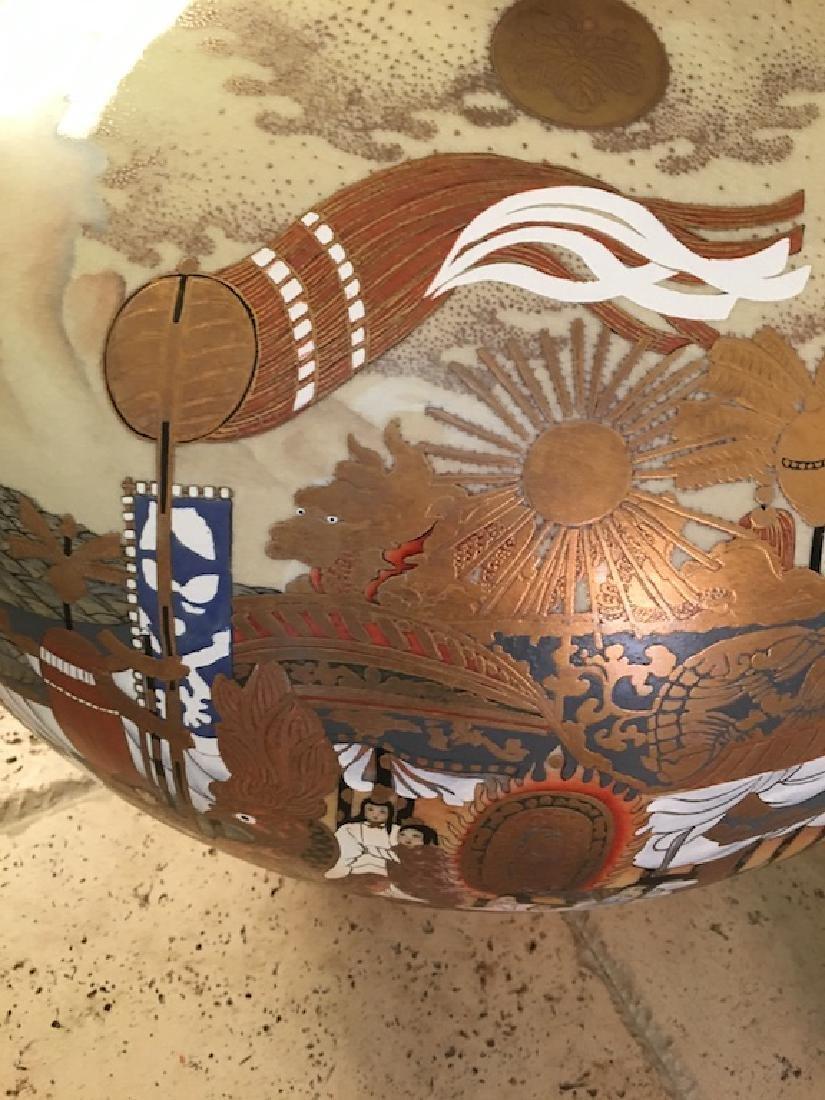 Monumental Satsuma late 20 th century vase. Marked on - 4