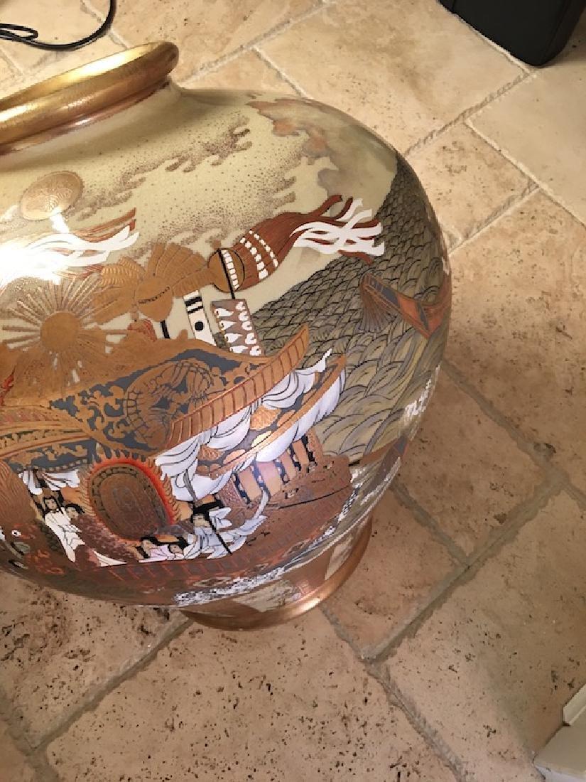 Monumental Satsuma late 20 th century vase. Marked on - 6