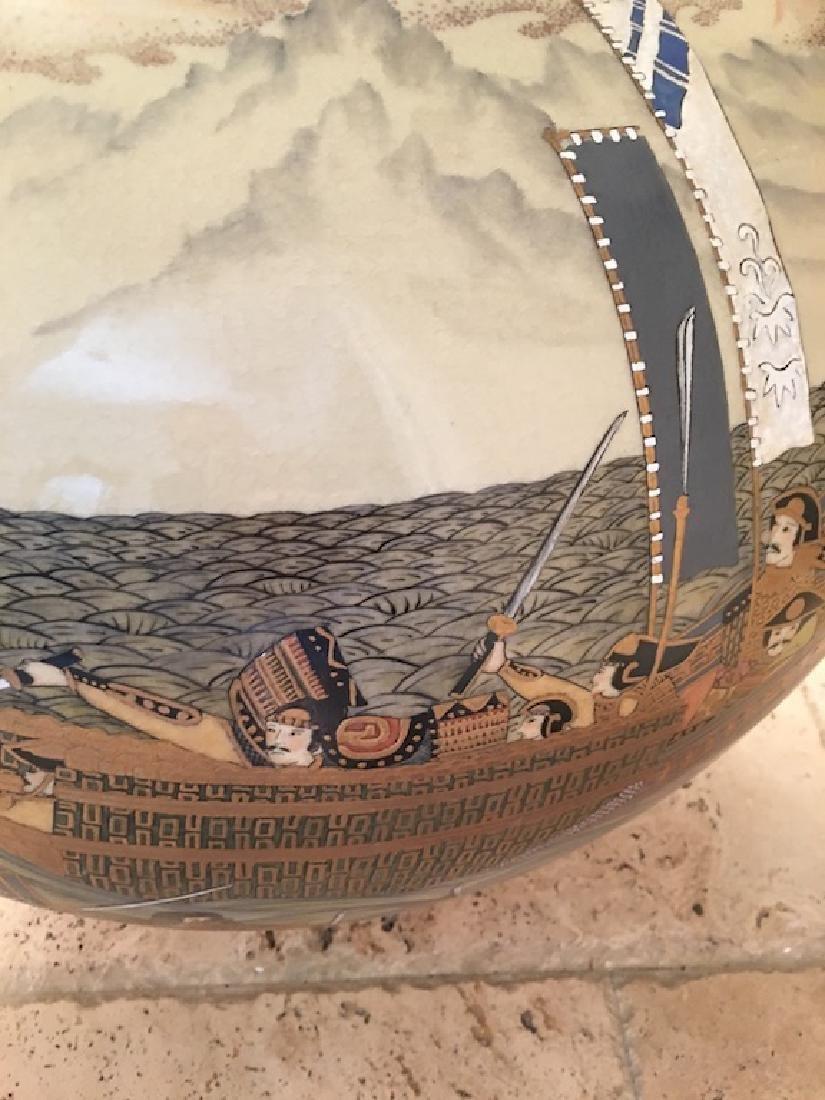 Monumental Satsuma late 20 th century vase. Marked on - 7