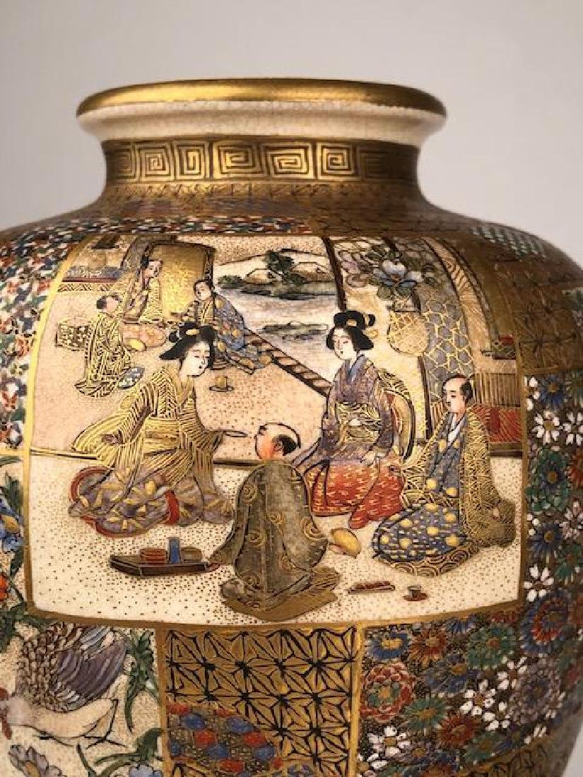 Exceptional pair of Japanese satsuma Meiji period vases - 3