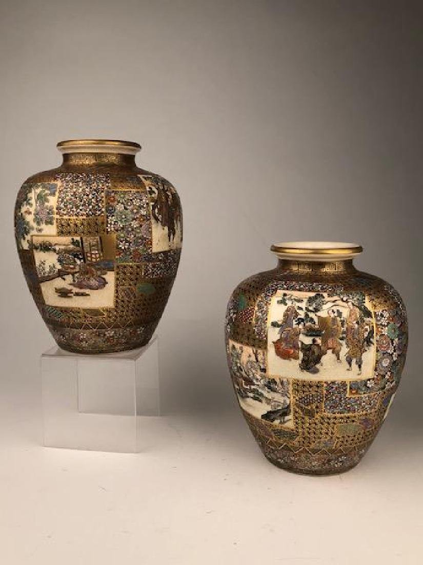 Exceptional pair of Japanese satsuma Meiji period vases - 4