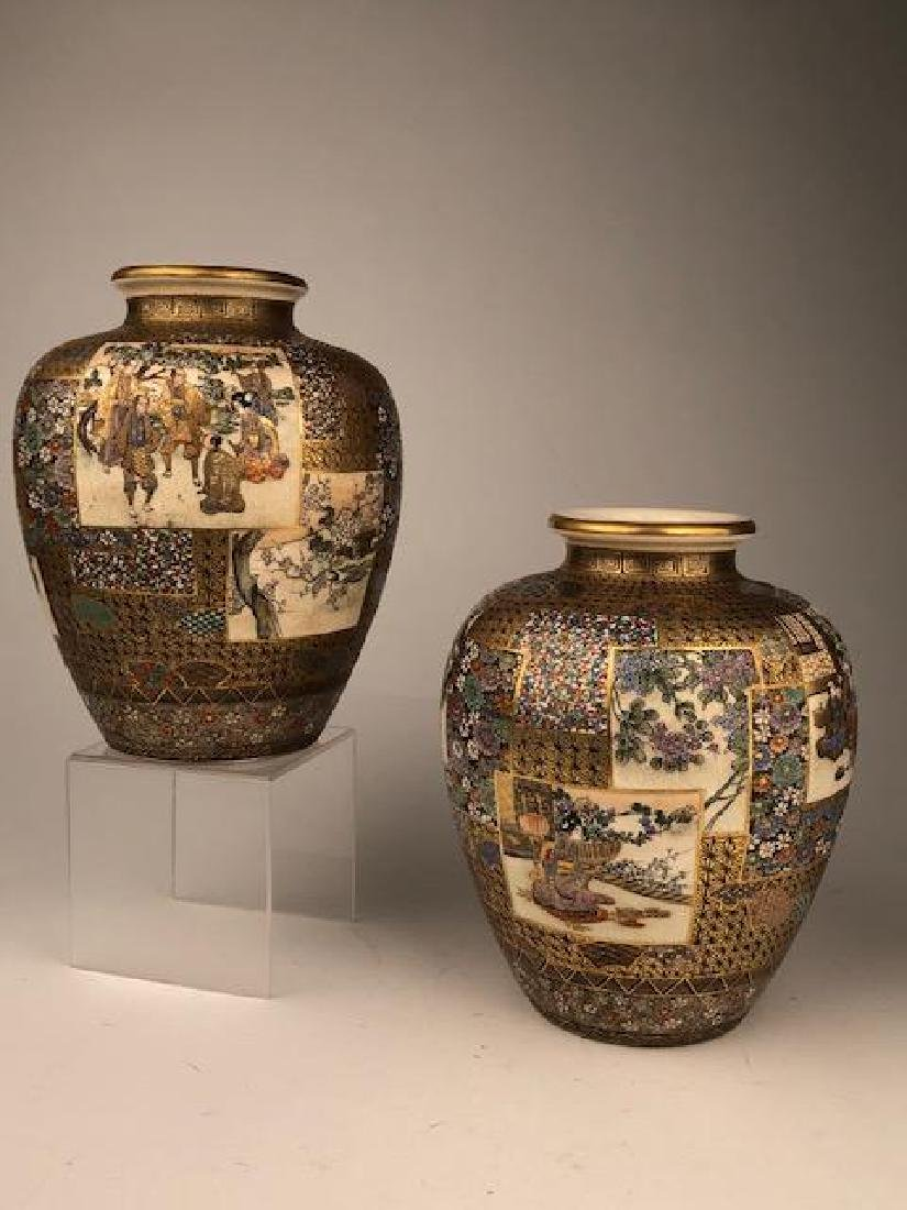 Exceptional pair of Japanese satsuma Meiji period vases - 6