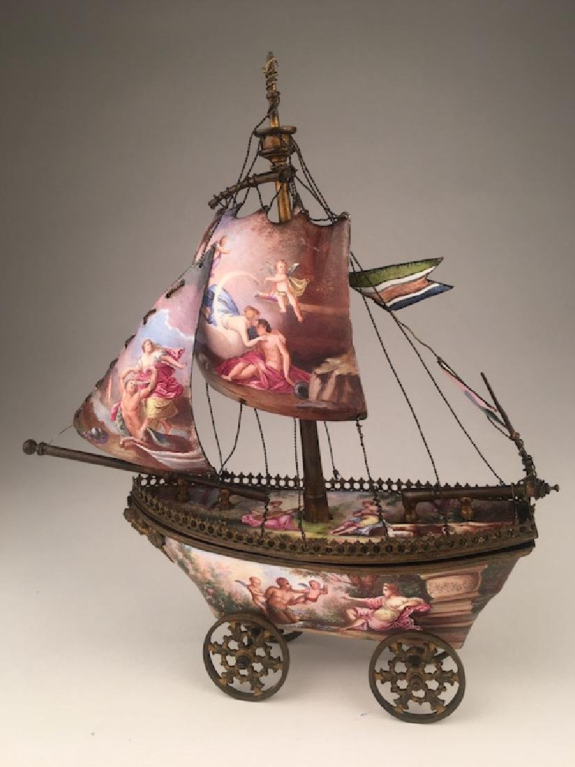 Vienna enamel painted bronze sail vessel.