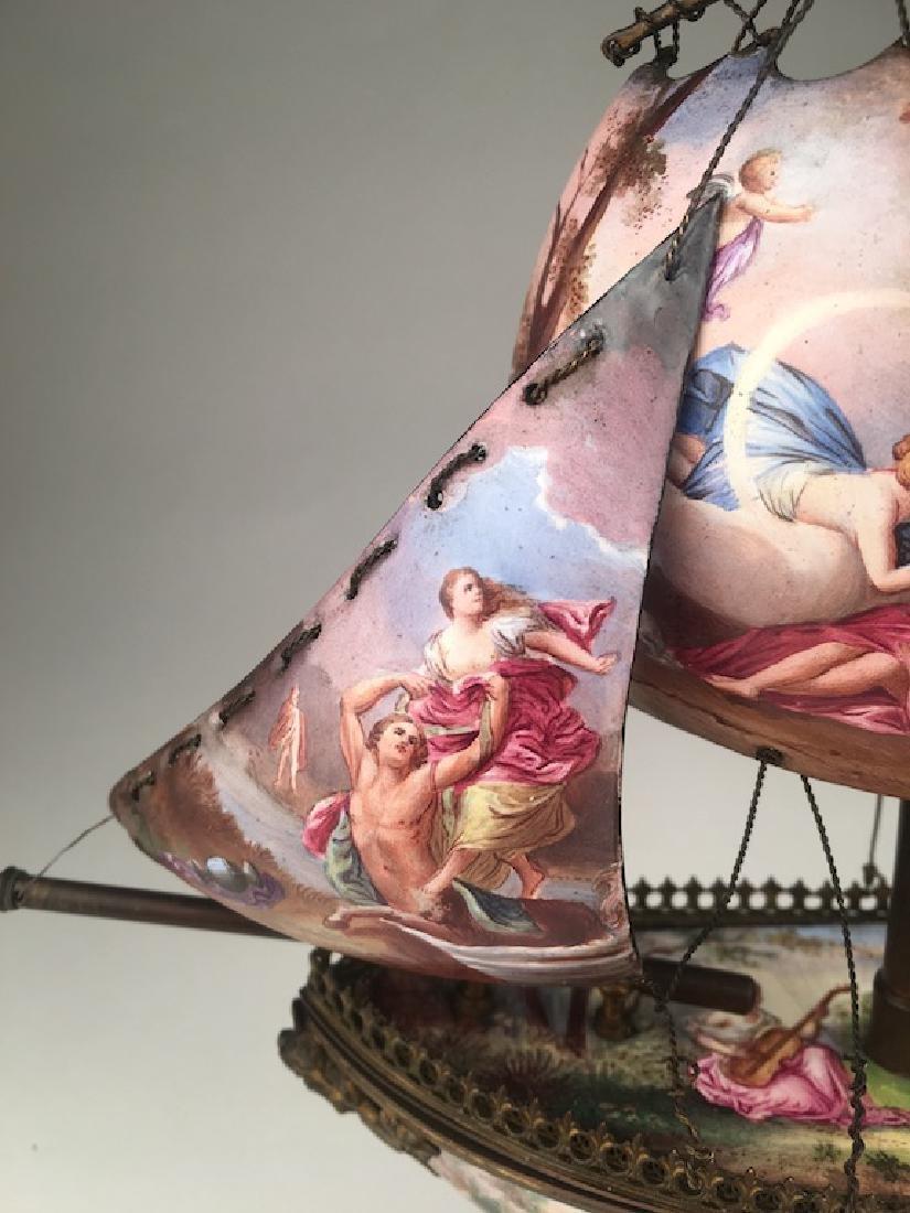 Vienna enamel painted bronze sail vessel. - 4