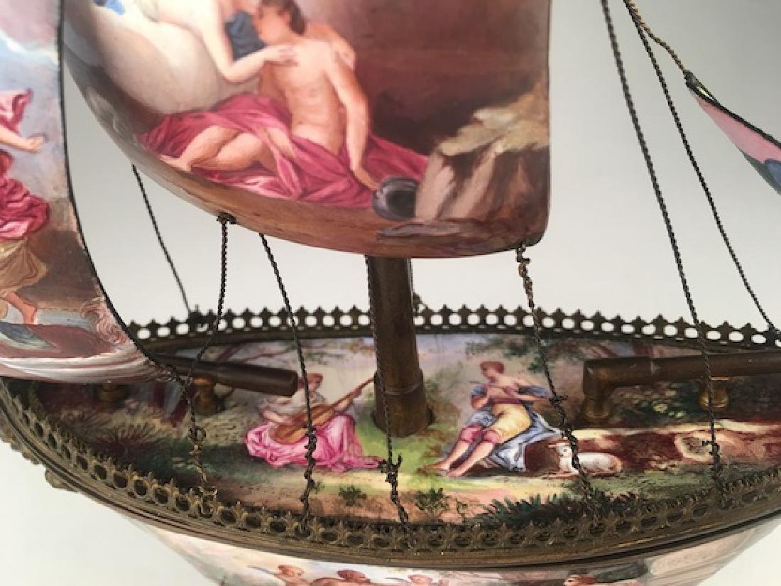 Vienna enamel painted bronze sail vessel. - 5