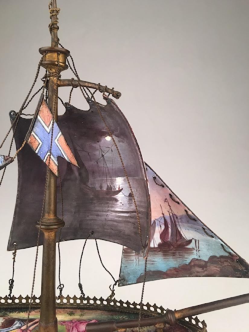 Vienna enamel painted bronze sail vessel. - 7
