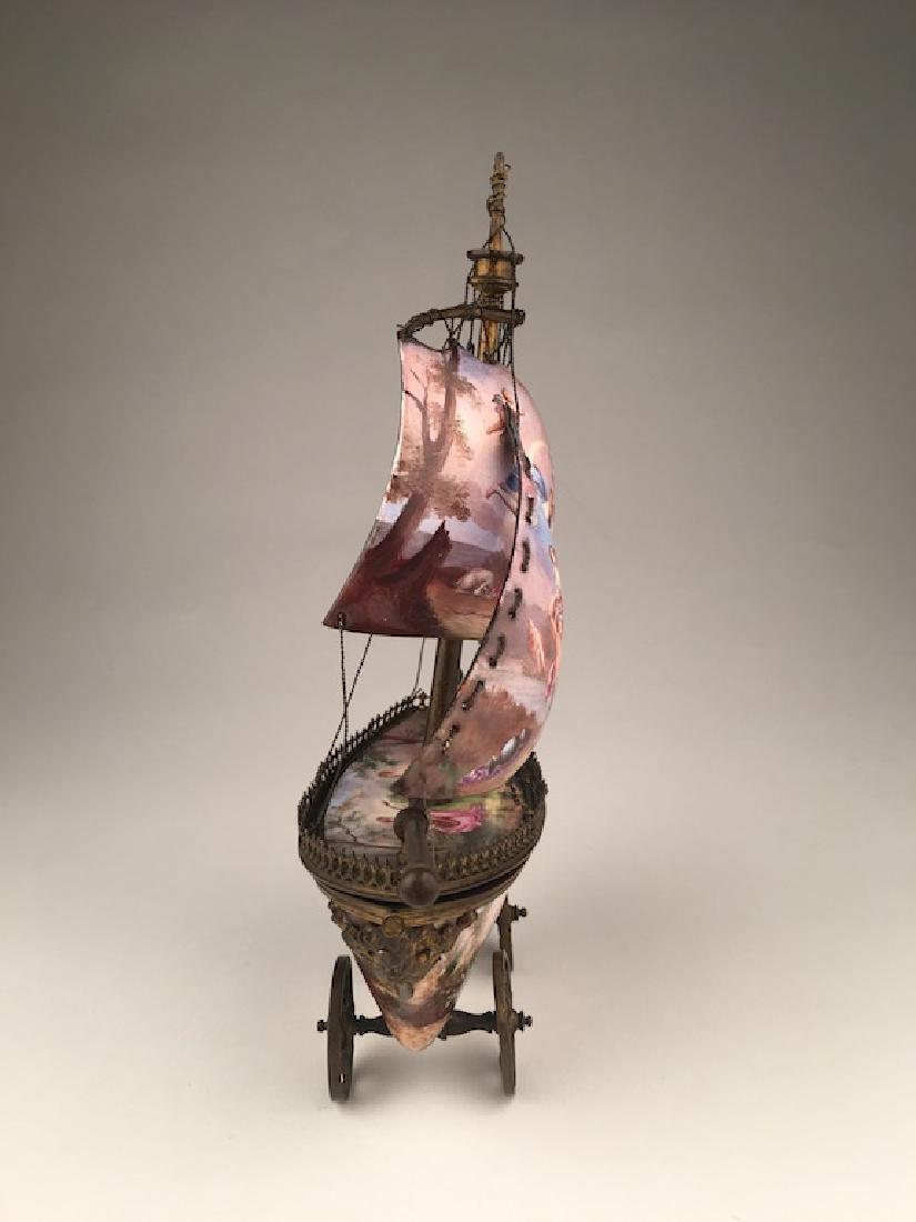 Vienna enamel painted bronze sail vessel. - 8