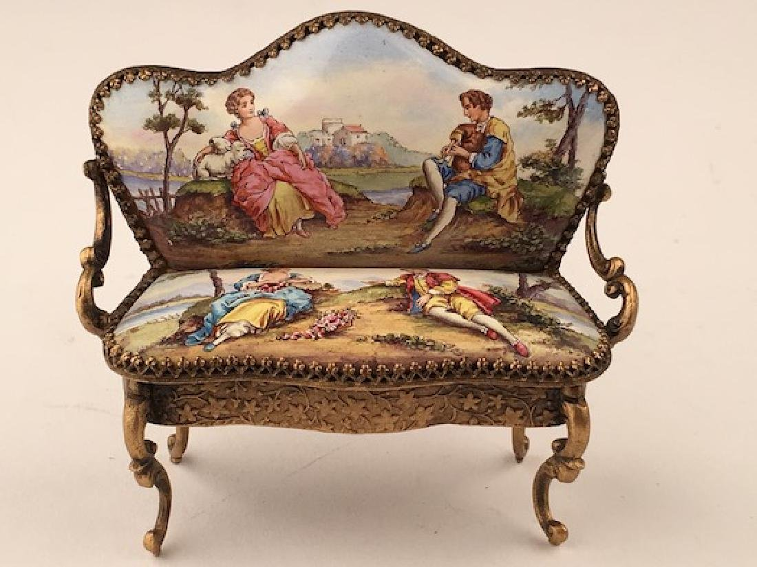 Austrian painted enamel sofa.