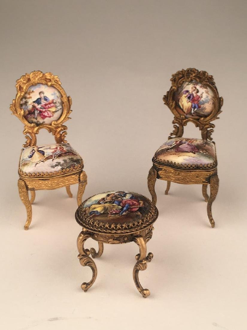 Three pieces of miniature furniture consisting of one